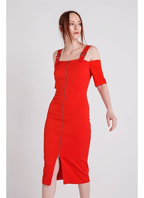 Rue Toka Detaylı Fermuarlı Kalem Elbise Kırmızı